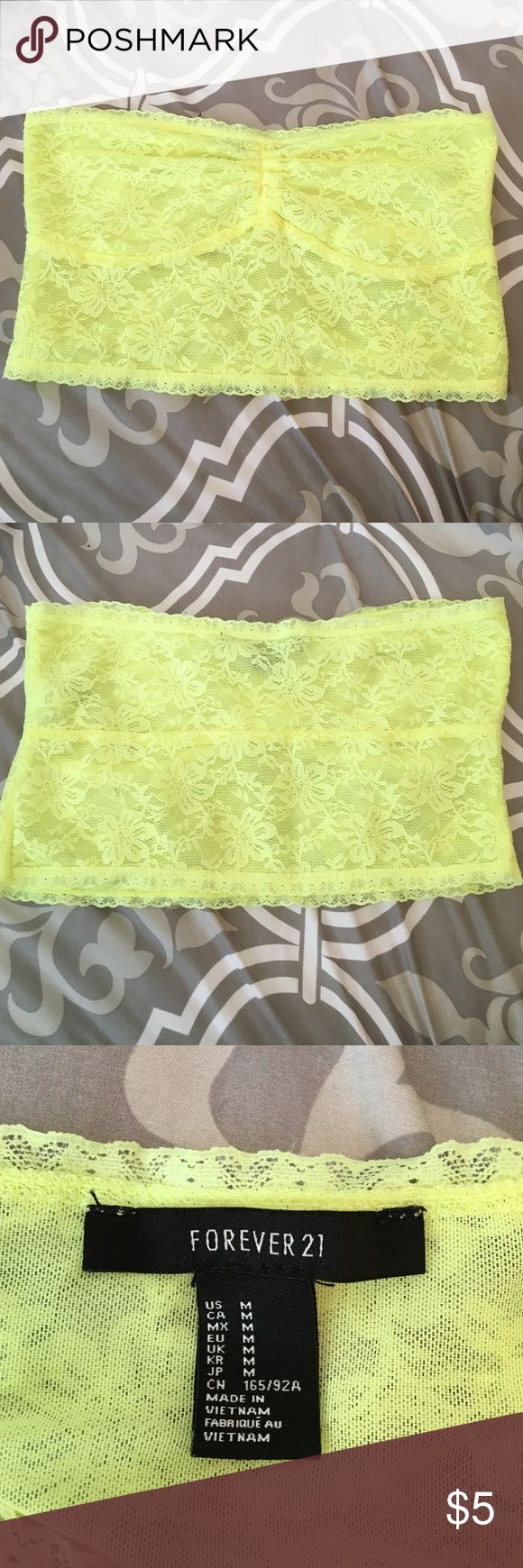 Neon yellow bandeau medium forever 21 Neon yellow forever 21 bandeau size medium Forever 21 Tops