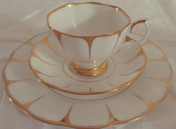 Vintage Art Deco Style Royal Vale Gold and White Bone China Tea Set Trio for One