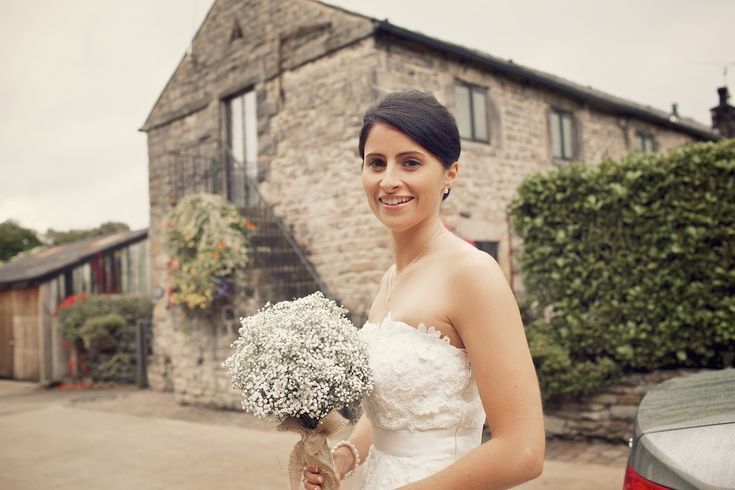 HYDE BANK FARM Image by Weddings Vintage Photography - A bespoke lace bridal gown and a Monsoon wedding dress for a rustic wedding at Hyde Bank Farm with Gypsophila bouquets by Weddings Vintage Photography.