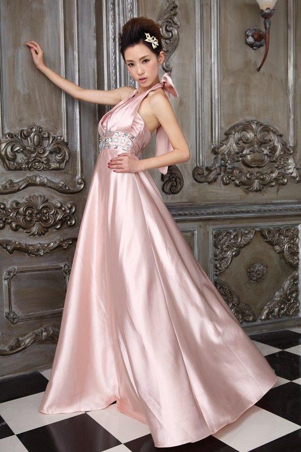 Elegant hængende lang hals pink halter festkjoler online