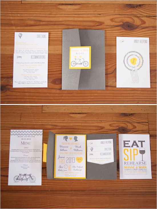 yellow and grey wedding invitations #weddingpaper #invites #yellowandgrey http://www.weddingchicks.com/2013/12/13/classic-yellow-and-grey-wedding/