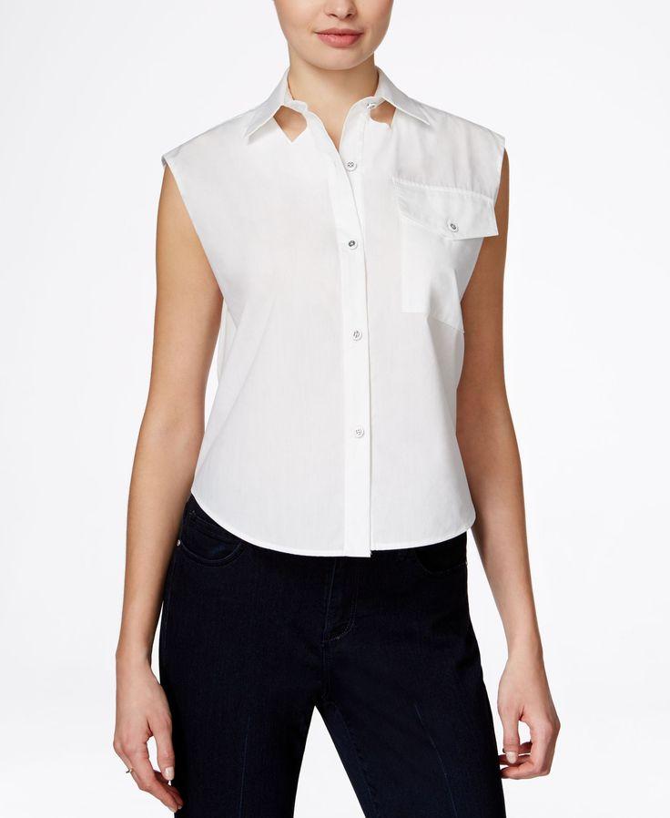 Rachel Rachel Roy Cap-Sleeve Cutout Shirt