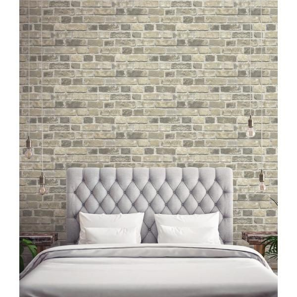 Nextwall Distressed Neutral Brick Vinyl Peelable Wallpaper Covers 30 75 Sq Ft Nw31705 The Home Depot Home Decor Peel And Stick Wallpaper Creative Home Decor