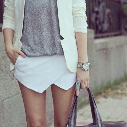 @roressclothes clothing ideas #women fashion white skirt, blazer gray t-shirt
