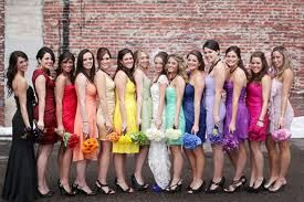 rainbow wedding picture with bride and bridemaids