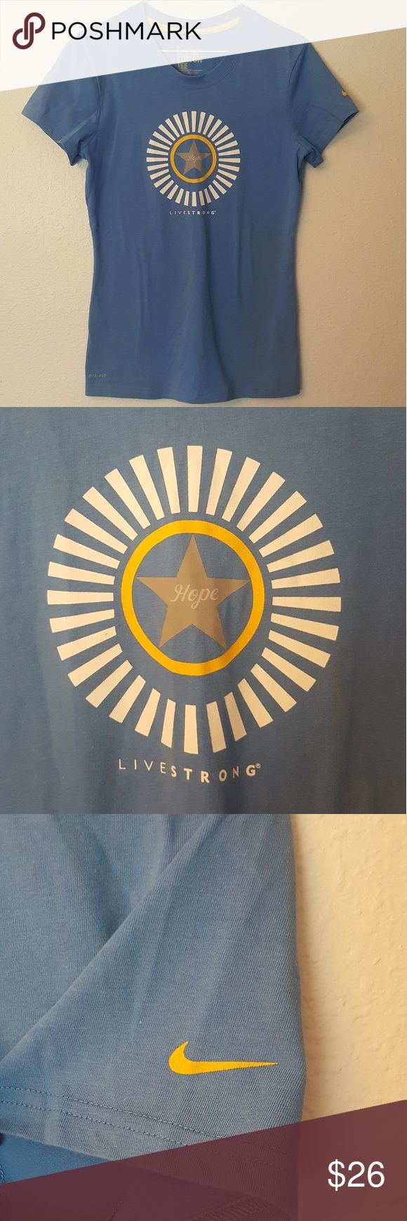 *NEW* Nike Livestrong Dry-Fit Cotton Tee Sz MEDIUM *NEW with TAGS* Nike Livestrong Dry-Fit Cotton Tee Women's Size MEDIUM Nike Tops Tees - Short Sleeve