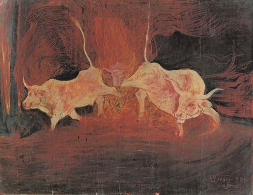 LORENZO VIANI (Viareggio, 1º novembre 1882 – Lido di Ostia, 2 novembre 1936) - Bovi nell'incendio 1904  #TuscanyAgriturismoGiratola