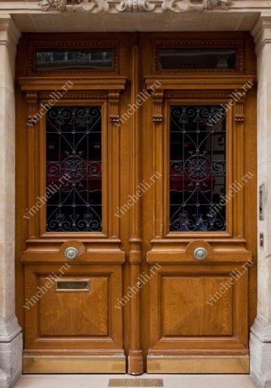 Двустворчатая входная дверь со вставкой из бронированного стекла - Винчелли