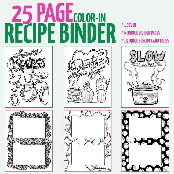 Printable Recipe Binder Pages Color In Recipe Binder Etsy Stress Coloring Book Recipe Binder Coloring Books
