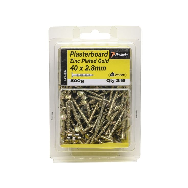 Paslode 40 x 2.5mm 500g  Gold Annular Plasterboard Nails - 215 Pack