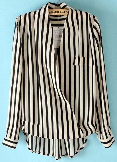Black Beige Vertical Stripe Stand Collar Blouse US$28.39