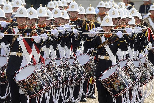 The Massed Bands of the Royal Marines Band performed Beat Retreat at Horse Guards Parade.
