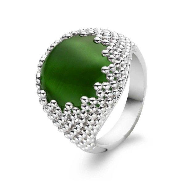 Duży pierścień z zielonym oczkiem. #ring #pierscionek www.terpilowski.com.pl