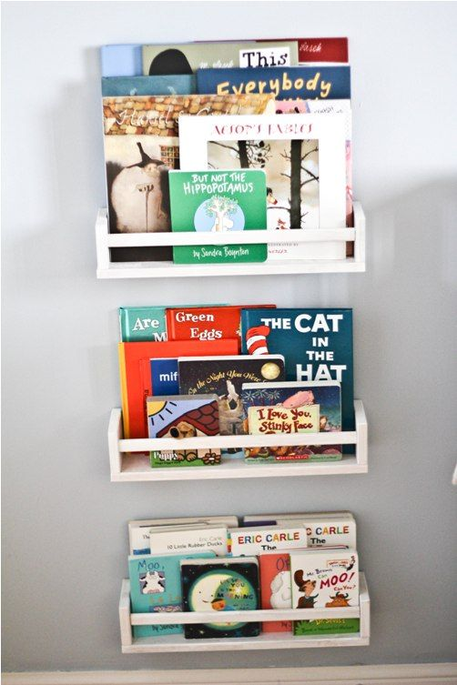 IKEA spice racks as small bookshelves. Wall space is at a premium in Will's room, and this might be a great idea to maximize some of the space ...