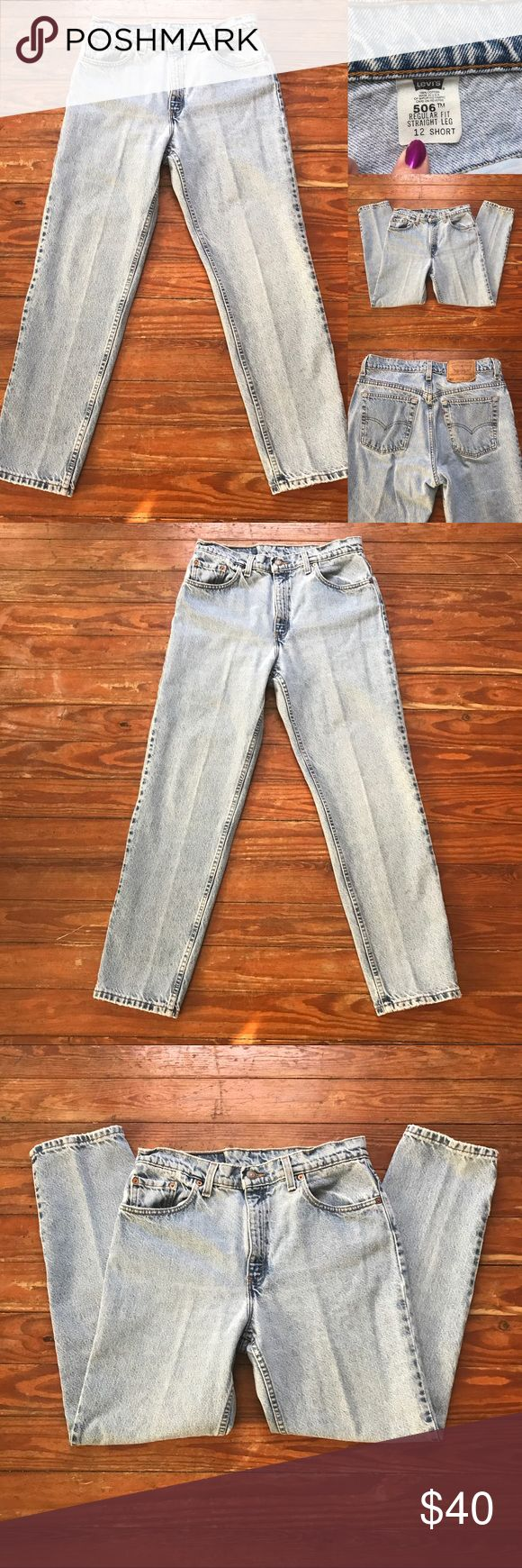 VINTAGE•Levi's•506•12•Short VINTAGE•Levi's•506•12•Short•Regular Fit•Straight Leg•Waist 15 1/4 inches•Hips 20 1/2 inches•Rise 11 1/2 inches•Inseam 29 1/4 inches•these measurements are done to the best of my ability and may vary slightly•NO MODELING/TRADING• Levi's Jeans Straight Leg