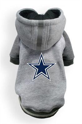 Dallas COWBOYS NFL  dog Helmet Hoodie in color Athletic Gray