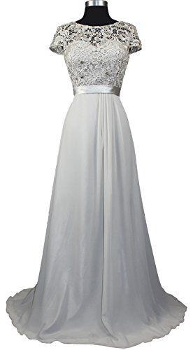 Amazing Meier Women us Short Sleeve Embroidery Rhinestone Mother of Bride Evening Dress Lt Silver S
