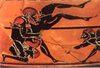 Greek Wrestling- was the faavorite Ancient Greek sport. 3 points were needed to win the match. It was the first sport added to the Olympics that wasn't a race.