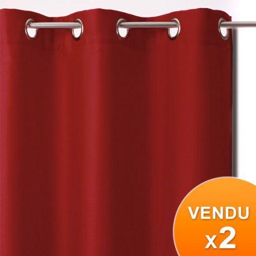 Conjunto de 2 #cortinas opacas de anillas color #ROJO Dimensiones de 1 cortina: 135 cm de ancho x 240 cm de alto. 100% poliéster. Las cortinas opacas son aisl