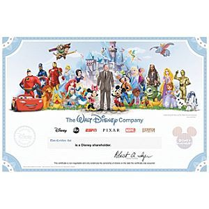 The Walt Disney Company Collectible Shareholder Certificate | Disney StoreThe Walt Disney Company Collectible Shareholder Certificate - Disney's illustrated stock certificates have long been a treasured memento of ownership, a memorable gift, and sought-after collectors item. Now shareholders can continue this rich legacy with a personalized certificate purchased online.