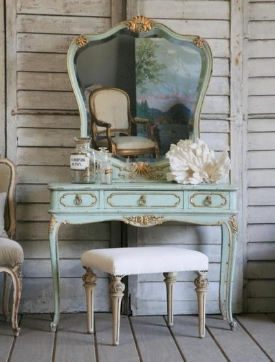 """Romantic shabby chic vanity decor"" this color would be nice on my vanity. Maybe use some of my mis-tint paint to tint my primer a light bluish color, then dry brush that on in multiple layers along with the paint."