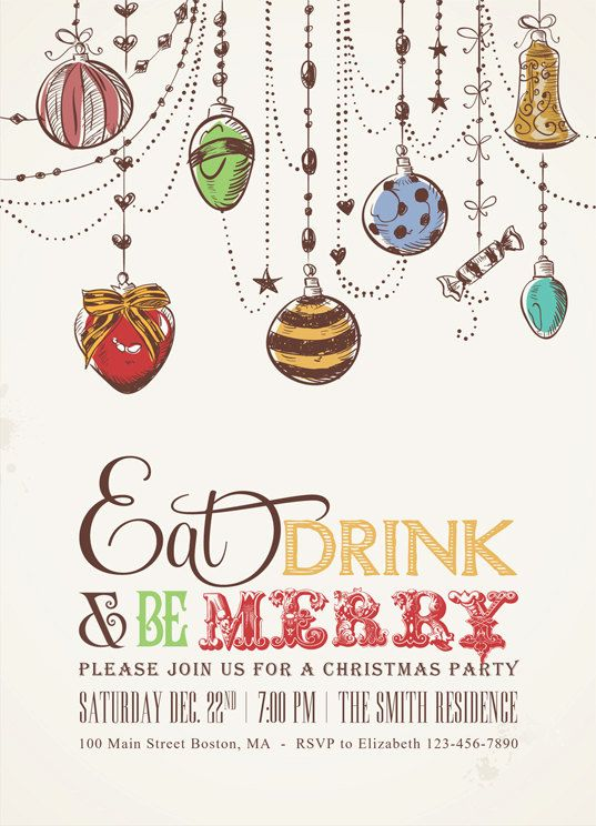 Printable Christmas Party Pack with Christmas Ornaments - Printable Christmas Invitation - Printable Christmas Menu - Eat Drink and be Merry