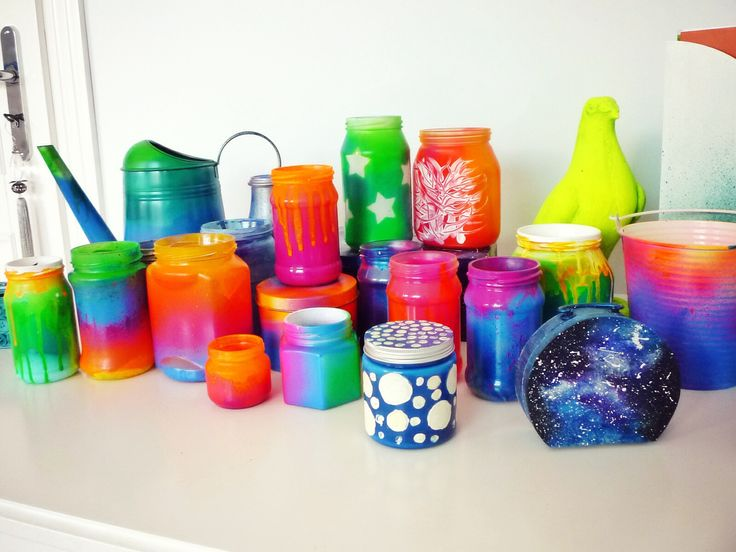 Spray painted DIY mason jars