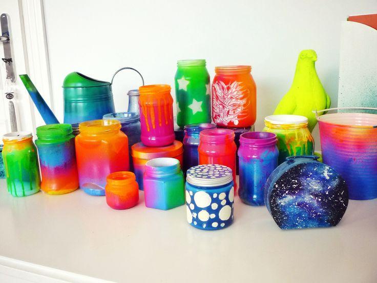 Spray painted DIY mason jars