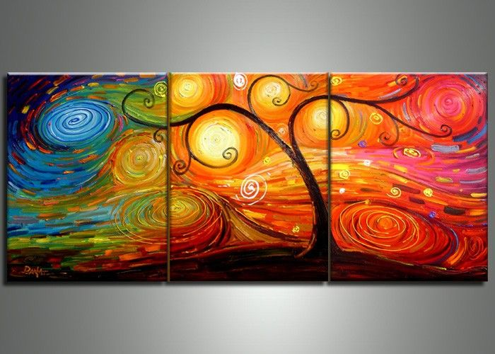 Abstract Multi-Color Tree Painting | 3 Panel | 103