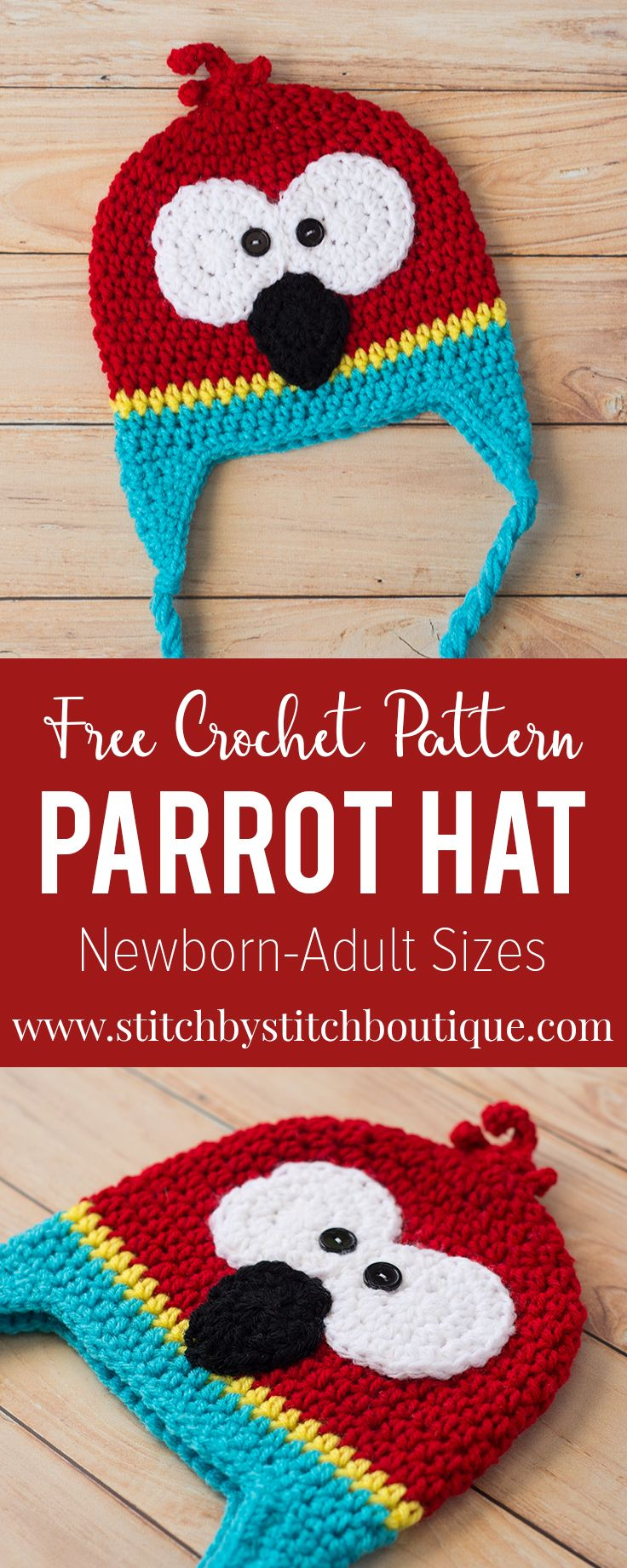 Dive right into your bold, colored yarn stash and create this adorable and fun, FREE crochet parrot hat pattern. Available in sizes newborn-adult. Enjoy!