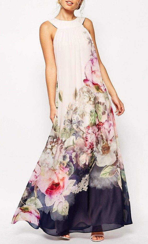 Floral Print Chiffon Sleeveless O-neck Loose Maxi Dress