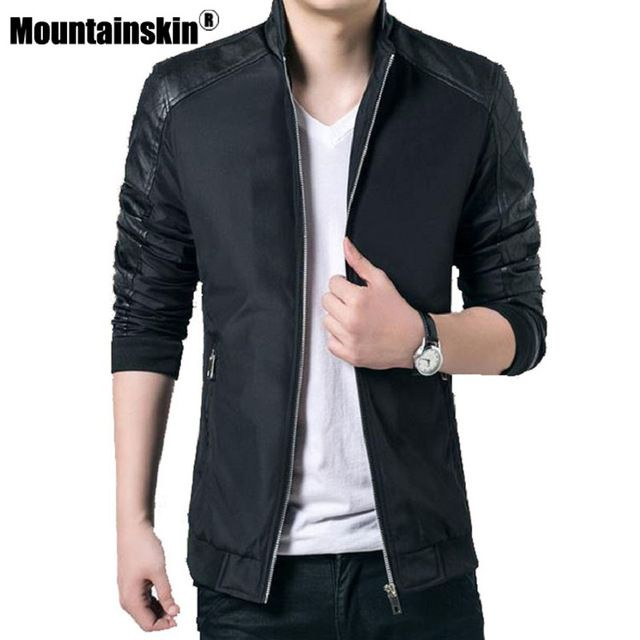 Special price Mountainskin Casual Men's Coats Autumn Bomber Jackets Men Outerwear 5XL PU Patchwork Male Windbreaker Brand Clothing SA022 just only $17.95 - 19.74 with free shipping worldwide  #jacketscoatsformen Plese click on picture to see our special price for you