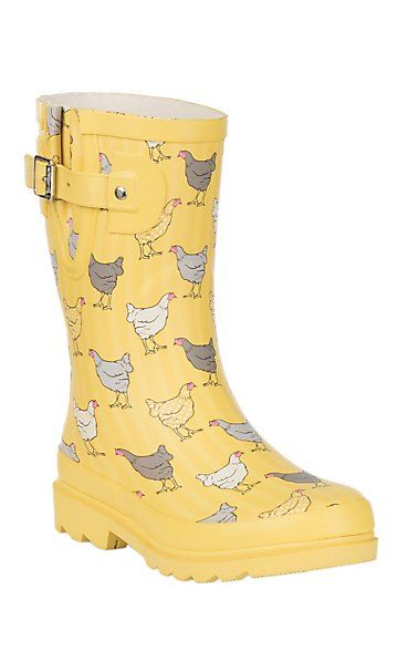 741c133982ce Western Chief Yellow w/ Chickens Print Round Toe Rain Boots | Cavender's