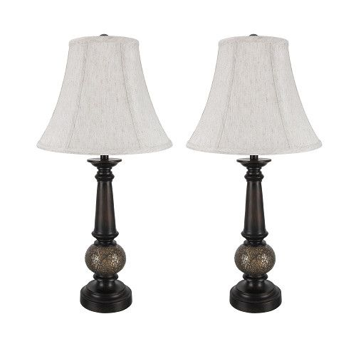 "# 40034 Two Pack 24"" High Traditional Table Lamp, Antique Bronze Finish, Off White Bell Shaped Lamp Shade, 12"" W"