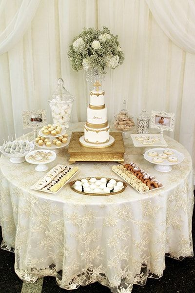 Sweets table in white and gold for a Christening.