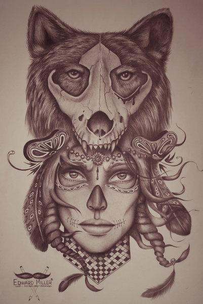 Wolf - skull - head by ~EdwardMiller