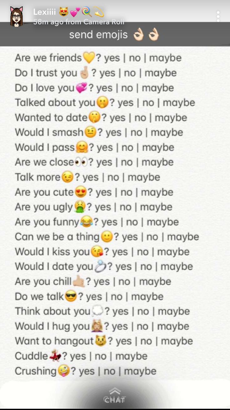 Comment With Emoji And I Will Tell You It Snapchat Questions