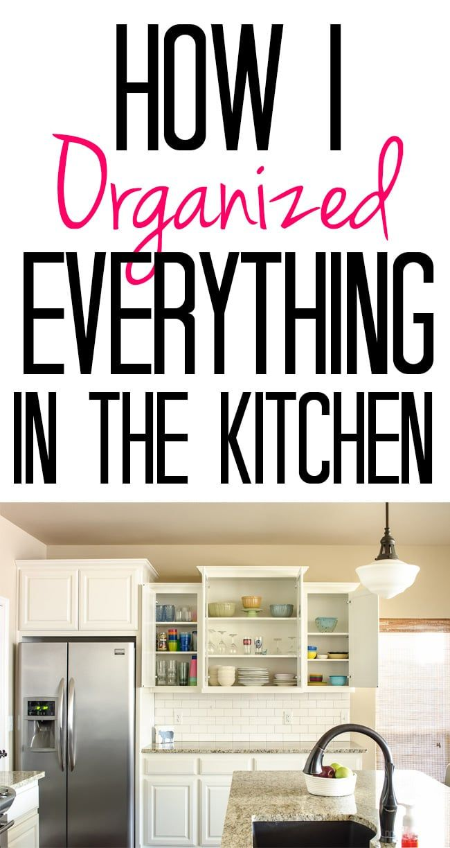 Kitchen a mess? This post shows how I organized everything from spices to Rubbermaid containers in our kitchen cabinets.