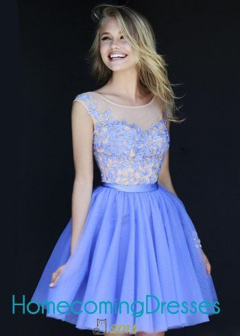2014 Periwinkle Short Sheer Neck Floral Embroidery Party Dress [Sherri Hill 11171 Periwinkle] - $205.00 : Homecoming Dresses 2014, Prom Dress 2015