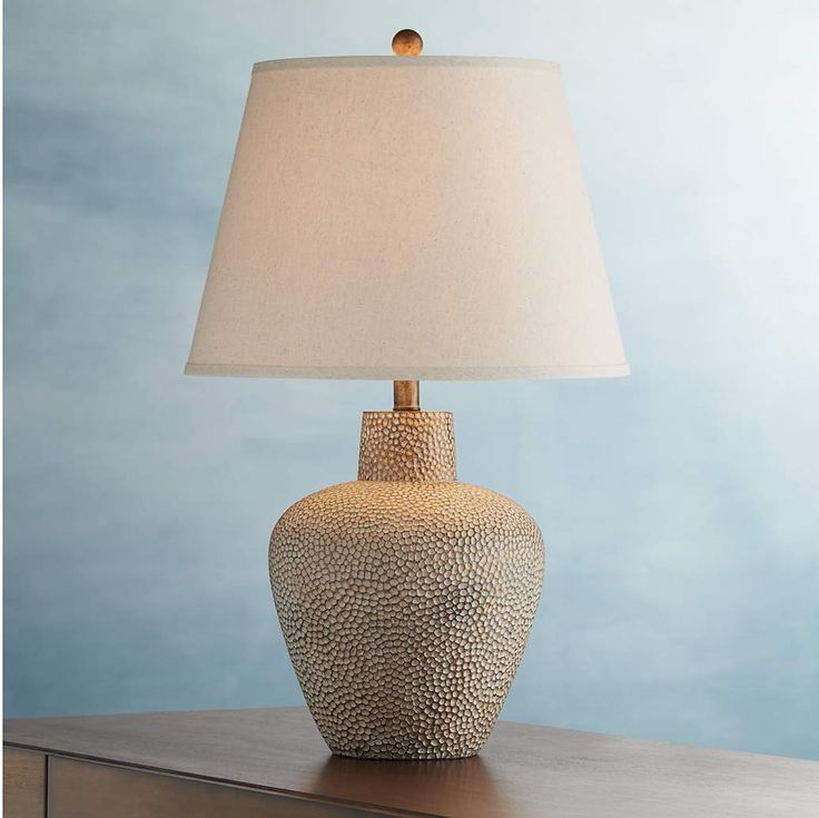 Bentley Brown Leaf Hammered Pot Table Lamp - #2G425 | Lamps Plus