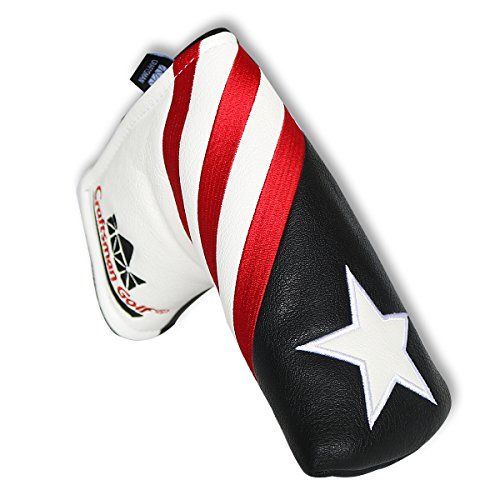 Craftsman Golf Black White Red Stripes USA Star Blade Putter Cover for Odyssey Titleist Ping Callaway *** To view further for this item, visit the image link.