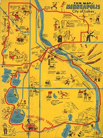 Fun Map of Minneapolis, City of Lakes | Postcards | Minneapolis ...