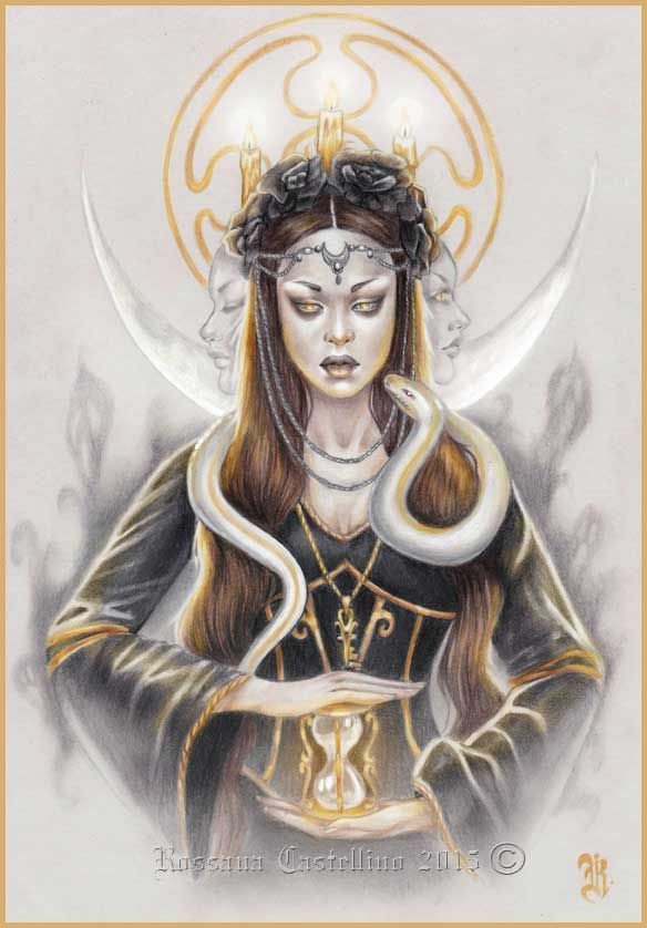 Hecate é uma deusa da mitologia grega.Era vista como Grande Deusa em períodos históricos, no seu inigualável lugar de culto em Lagina. Deusa das terras selvagens e dos partos, era geralmente representada segurando duas tochas ou uma chave, e em períodos posteriores na sua forma tripla. Estava associada a encruzilhadas, entradas, fogo, luz, a lua, magia, bruxaria, o conhecimento de ervas e plantas venenosas, fantasmas, necromancia e feitiçaria. Ela reinara sobre a terra, mar e céu.