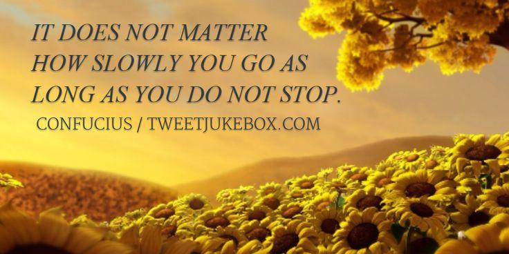 It does not matter how slowly you go as long as... Confucius #quote #quotes #tweetjukebox http://tweetjukebox.com