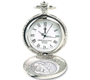 Give him the gift of time with this classic, elegant silver pocket watch. #QVCgifts