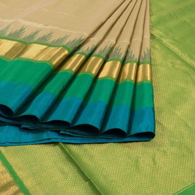 Venkie Reddy Handwoven Gadwal Kuttu Silk Saree With Multicolour Border 10007000 - AVISHYA.COM