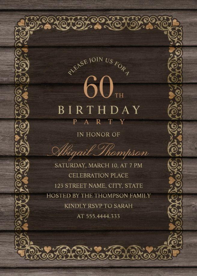 Fancy Wood 60th Birthday Invitations