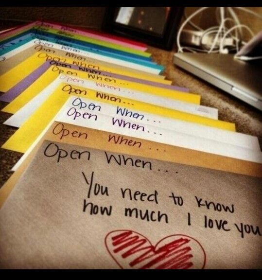 I want to write these for Ava and give them to her on her first birthday in a keepsake box. I know she won't appreciate it until she's older, but how special. Open on your wedding day, open when you fall in love for the first time, open when you graduate kindergarten/high school/college/etc, open when someone you love goes to heaven, etc