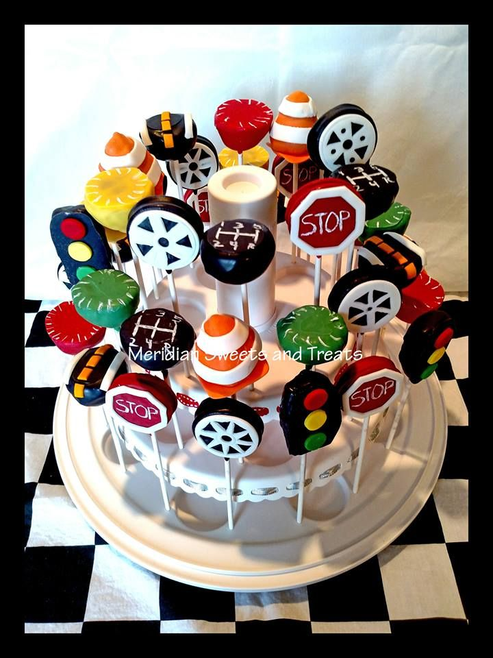 """Car themed cake pops by """"Meridian Sweets and Treats!"""" #carsbirthday #pinewoodderbytreat https://www.facebook.com/MeridianSweetsAndTreats/"""