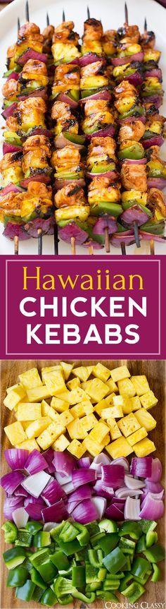 Kebabs de pollo de Hawai